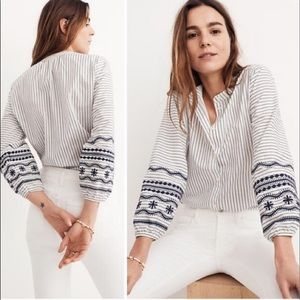 Madewell stripped top with embroidered sleeves